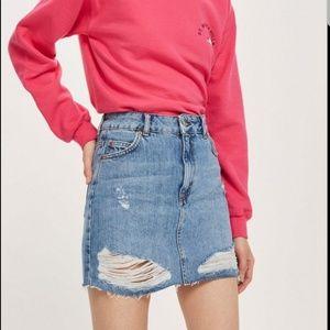 TOPSHOP MOTO Distressed Denim Skirt Size 12 NWT